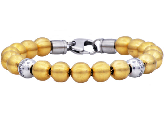 Mens Gold Plated Stainless Steel Bead Bracelet With Cubic Zirconia - Blackjack Jewelry