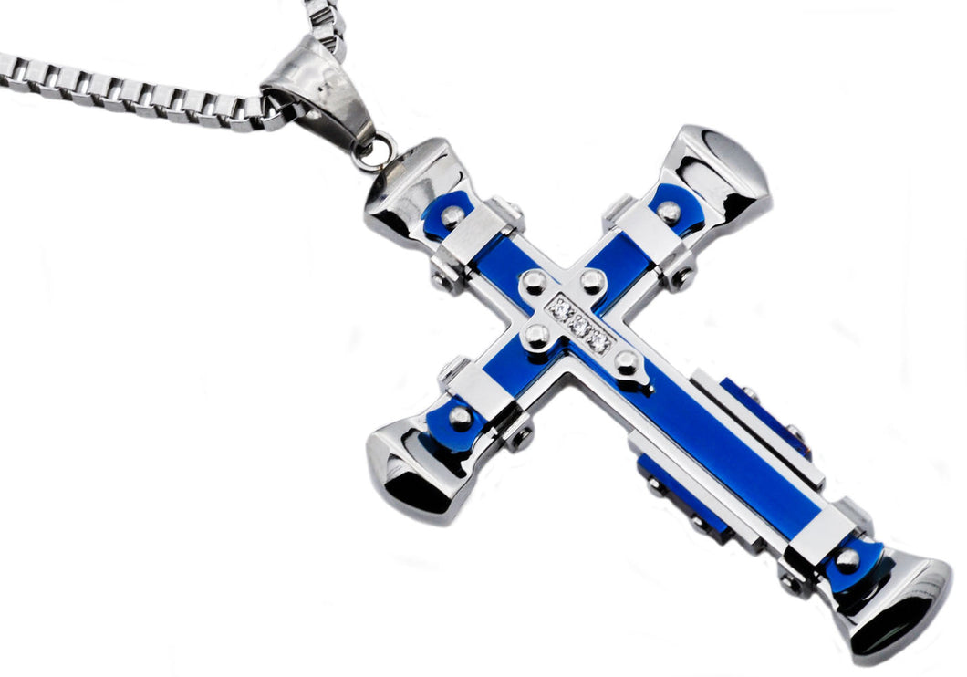 Mens Blue Stainless Steel Pendant With Cubic Zirconia - Blackjack Jewelry
