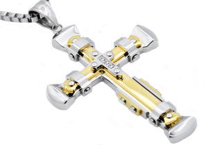 Mens Gold Plated Stainless Steel Pendant With Cubic Zirconia - Blackjack Jewelry