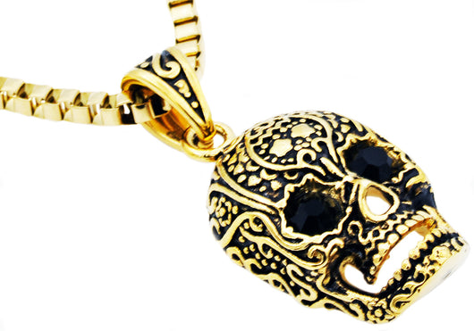 Mens Gold Plated Stainless Steel Skull Pendant With Black Cubic Zirconia