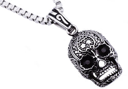 Mens Stainless Steel Skull Pendant With Black Cubic Zirconia - Blackjack Jewelry