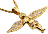 Mens Gold Plated Stainless Steel Cherub Pendant WIth Cubic Zirconia - Blackjack Jewelry
