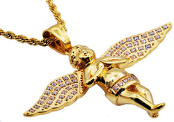 Mens Gold Plated Stainless Steel Cherub Pendant WIth Cubic Zirconia