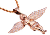 Mens Rose Plated Stainless Steel Cherub Pendant With Cubic Zirconia
