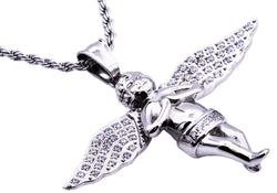 Mens Stainless Steel Cherub Pendant With Cubic Zirconia