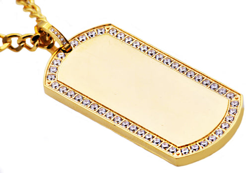 Mens Gold Plated Stainless Steel Dog Tag Pendant With Cubic Zirconia - Blackjack Jewelry