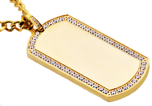 Mens Gold Plated Stainless Steel Dog Tag Pendant With Cubic Zirconia