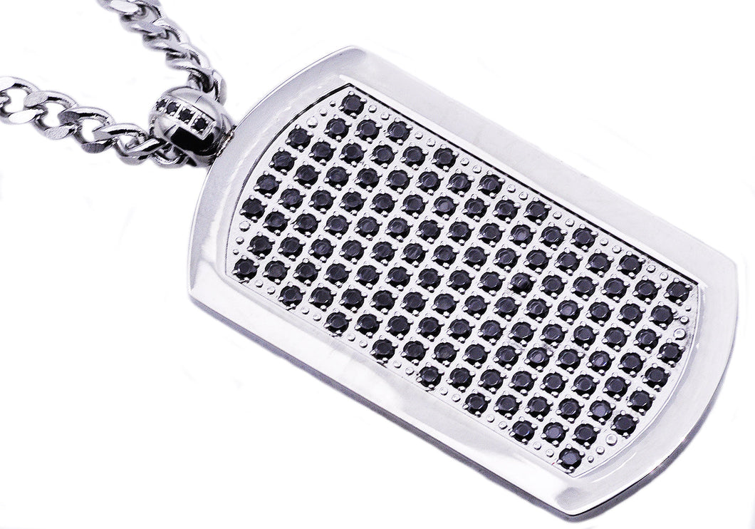 Mens Stainless Steel Dog Tag Pendant With Black Cubic Zirconia - Blackjack Jewelry
