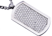 Load image into Gallery viewer, Mens Stainless Steel Dog Tag Pendant With Cubic Zirconia - Blackjack Jewelry