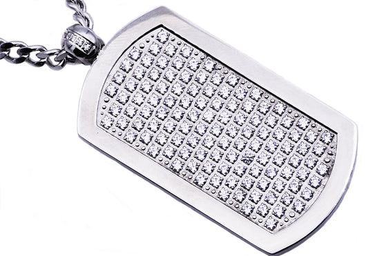 Mens Stainless Steel Dog Tag Pendant With Cubic Zirconia - Blackjack Jewelry