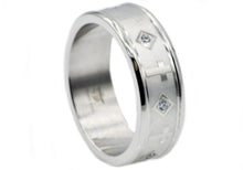 Load image into Gallery viewer, Mens Stainless Steel Cross Band With Cubic Zirconia - Blackjack Jewelry