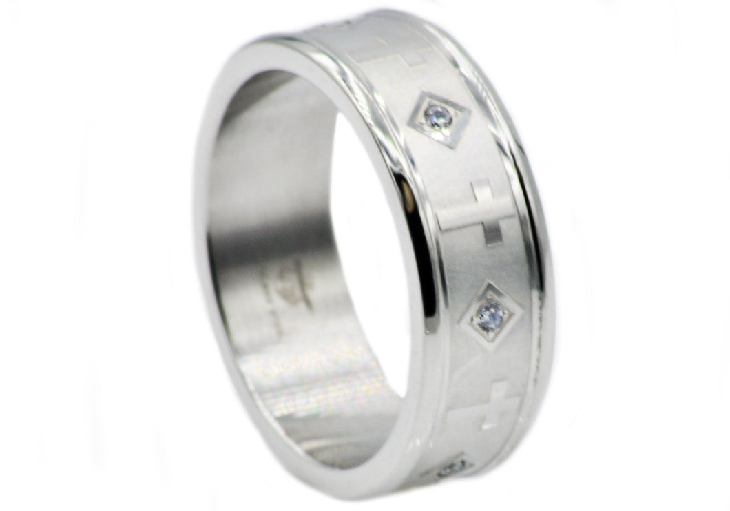Mens Stainless Steel Cross Band With Cubic Zirconia - Blackjack Jewelry