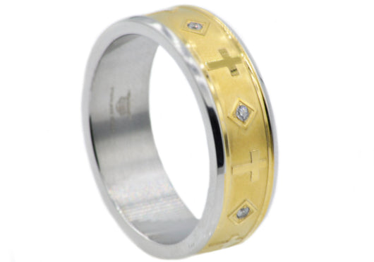 Mens Gold Plated Stainless Steel Cross Band With Cubic Zirconia