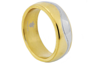 Mens Two Tone Gold Plated Wavy Stainless Steel Band Ring - Blackjack Jewelry
