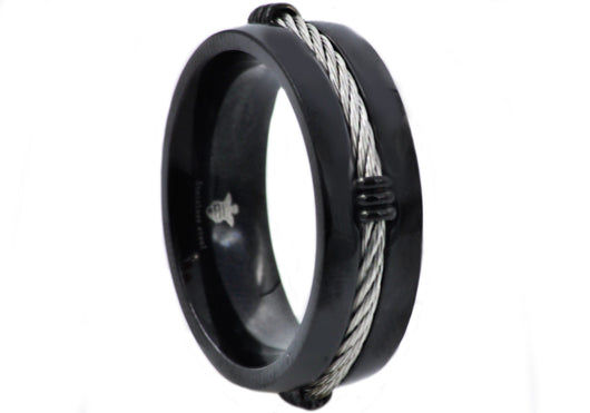 Mens Black Plated Stainless Steel Wire Band - Blackjack Jewelry