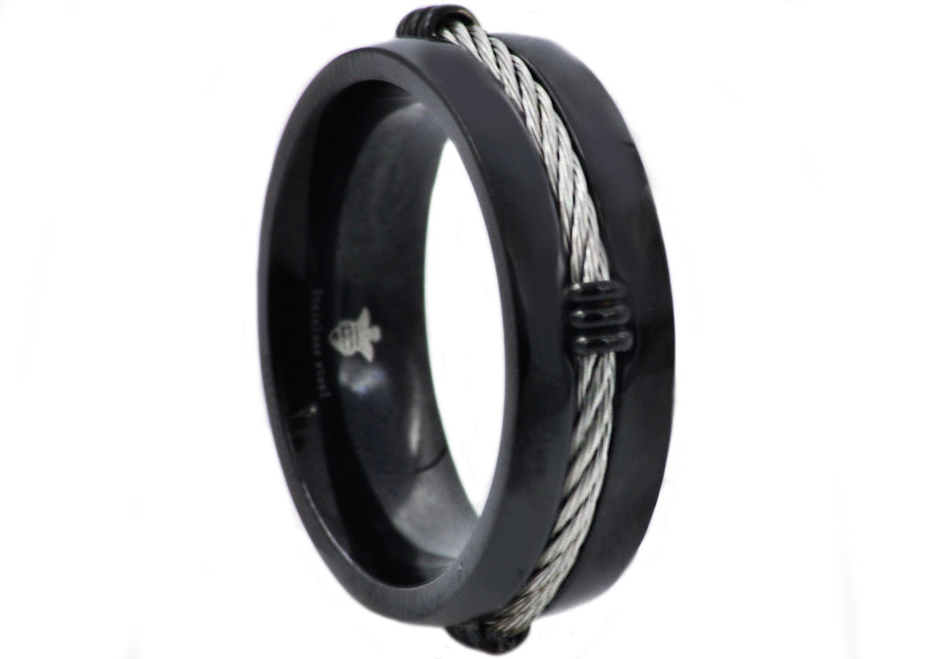 Mens Black Stainless Steel Wire Band - Blackjack Jewelry