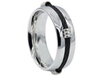 Mens Black Plated Stainless Steel Wire Ring