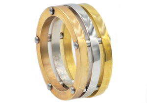 Mens Tri Color Yellow and Rose Gold Plated Stainless Steel Band Ring - Blackjack Jewelry