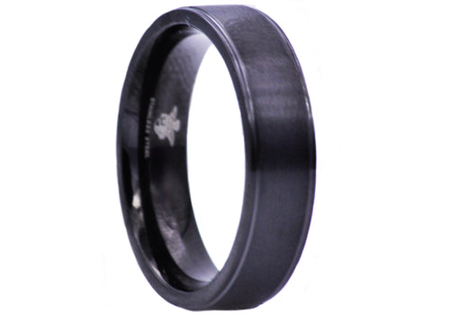 Mens 6mm Matte Finish Black Plated Stainless Steel Band Ring - Blackjack Jewelry