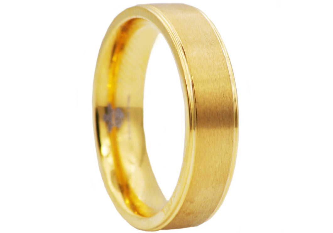 Mens 6mm Gold Plated Matte Finish Stainless Steel Band Ring - Blackjack Jewelry
