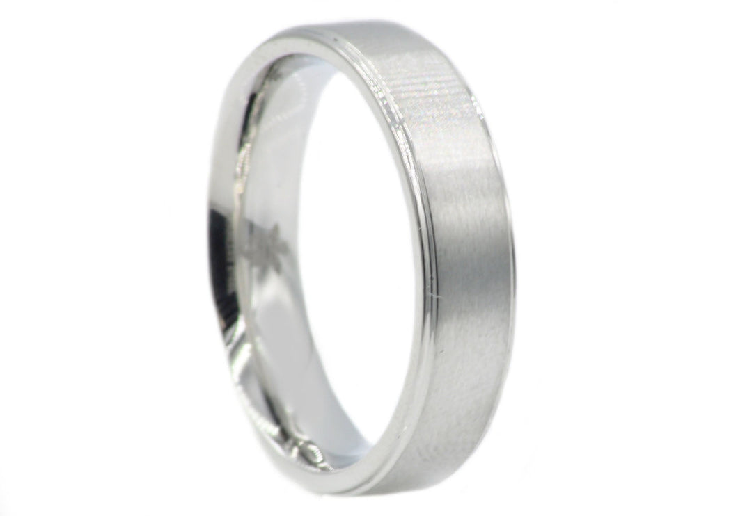 Mens 6mm Matte Finish Stainless Steel Band Ring - Blackjack Jewelry