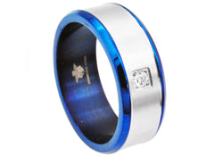 Mens Blue Plated Stainless Steel Band With Cubic Zirconia - Blackjack Jewelry