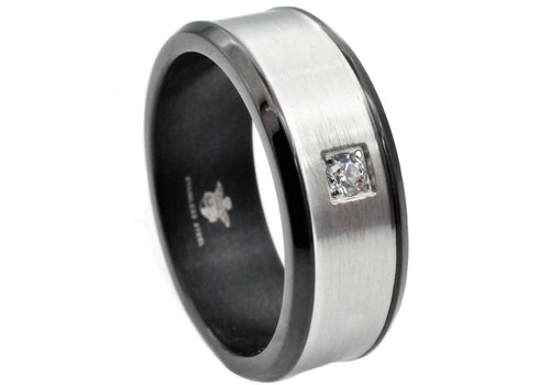 Mens Brushed Stainless Steel Band Ring With Cubic Zirconia And Black Plated Edge - Blackjack Jewelry
