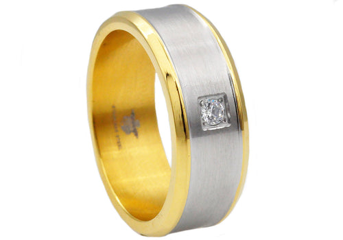 Mens Brushed Stainless Steel Band Ring With Cubic Zirconia And Gold Plated Edge - Blackjack Jewelry