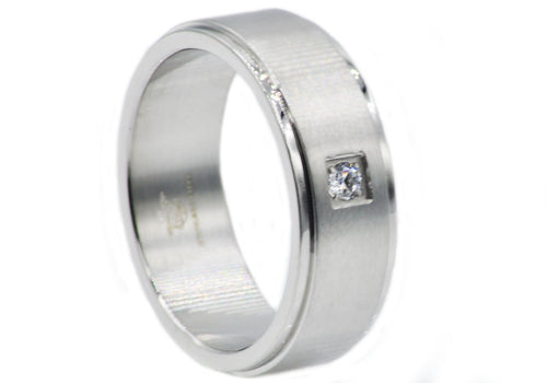 Mens Brushed Stainless Steel Band Ring With Cubic Zirconia - Blackjack Jewelry