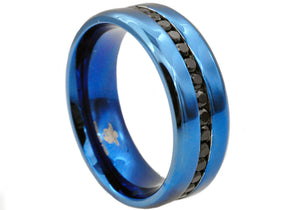 Mens Blue Stainless Steel Band With Black Cubic Zirconia - Blackjack Jewelry