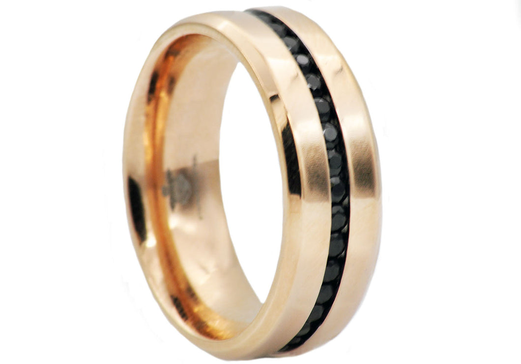Mens Rose Gold plated Stainless Steel Eternity Band Ring With Black Cubic Zirconia - Blackjack Jewelry