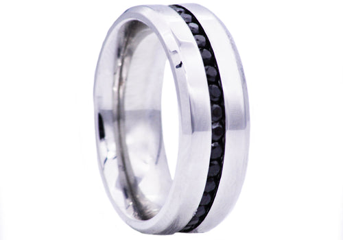 Mens High Polish Stainless Steel Eternity Band Ring With Black Cubic Zirconia - Blackjack Jewelry