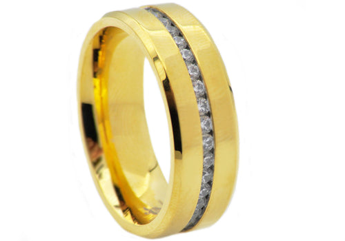 Mens Gold plated Stainless Steel Eternity Band Ring With Cubic Zirconia - Blackjack Jewelry