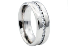 Load image into Gallery viewer, Mens Stainless Steel Band With Cubic Zirconia - Blackjack Jewelry