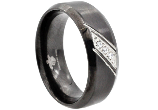 Mens Black Plated Stainless Steel Band With Cubic Zirconia