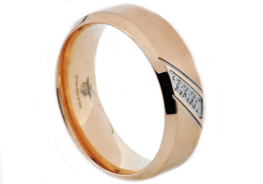 Mens Rose Plated Stainless Steel Band With Cubic Zirconia - Blackjack Jewelry