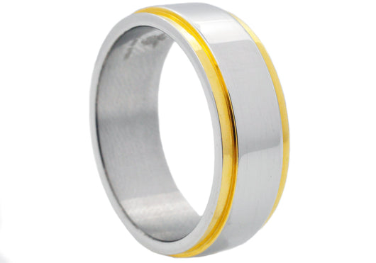 Mens Gold Plated Stainless Steel Band Ring - Blackjack Jewelry