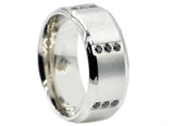 Mens Stainless Steel Band With Black Cubic Zirconia