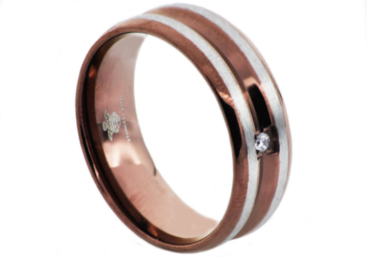 Mens Chocolate Plated Stainless Steel Band With Cubic Zirconia