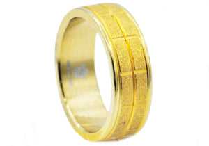 Mens Sandblasted Gold Stainless Steel Band Ring - Blackjack Jewelry