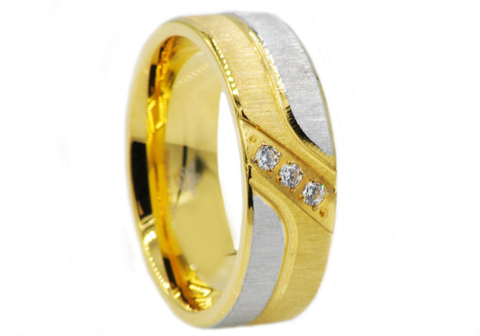 Mens Gold Plated Stainless Steel Band With Cubic Zirconia