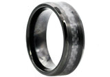 Mens Black Carbon Fiber And Black Plated Stainless Steel Band