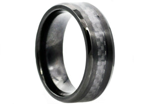 Mens Black Carbon Fiber And Black Plated Stainless Steel Band - Blackjack Jewelry