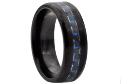 Mens Blue Carbon Fiber and Black Plated Stainless Steel Band