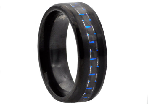 Mens Blue Carbon Fiber and Black Plated Stainless Steel Band - Blackjack Jewelry