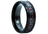 Mens Red Carbon Fiber and Black Plated Stainless Steel Band
