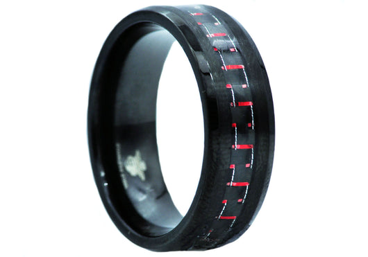 Mens Carbon Fiber and Black Plated Stainless Steel Band