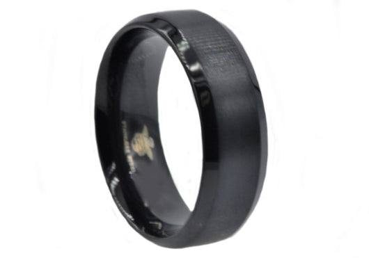 Mens Black Plated Stainless Steel Band