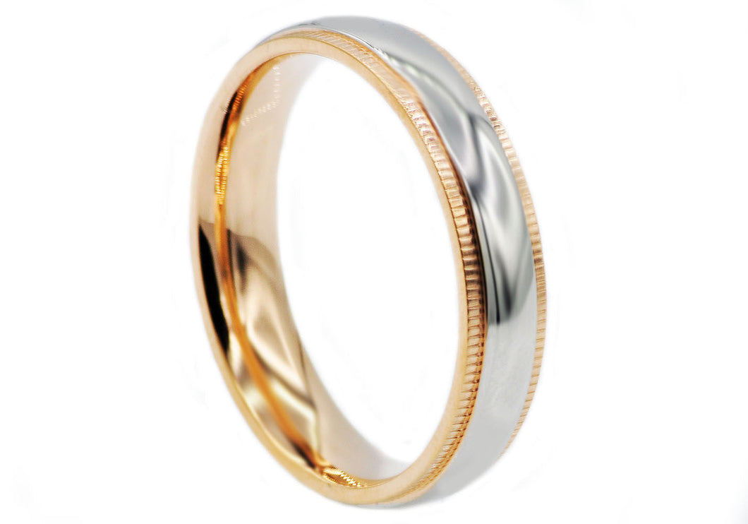 Mens Rose Plated Stainless Steel Band - Blackjack Jewelry