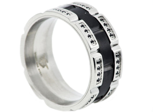 Mens Black Plated Stainless Steel Band With Black Cubic Zirconia